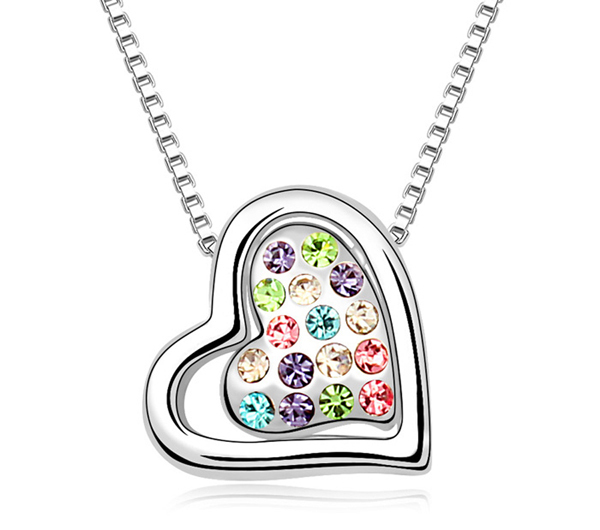 Unique Heart in Heart Pendant Necklace,Chain Length 40cm + 5cm(Extended Chain), Women Beautiful Gift , Multicolor(China (Mainland))