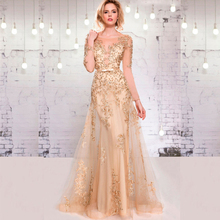 elegant champagne evening dresses 2016 long sleeve appliques lace beaded women pageant Dress for formal prom party(China (Mainland))