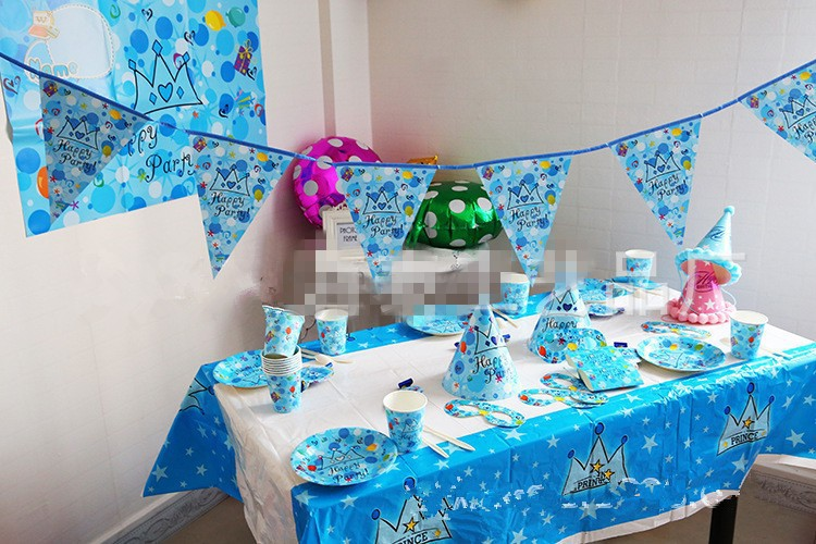 Luxury crown cartoon theme party packs for baby shower for Baby tv birthday decoration