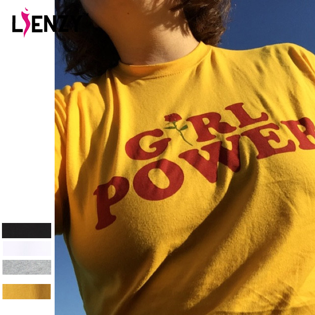 LIENZY Summer Girl Power Rose T Shirt Letter White Yellow Grey Black Cotton Ladies T-Shirt Tops(China (Mainland))