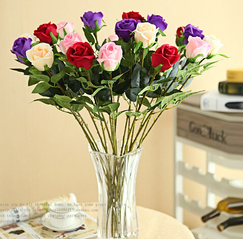 2015 New Artificial Roses Beautiful Decorative Artificial Flowers China Cheap Wholesale Flower 10Pcs F-01(China (Mainland))