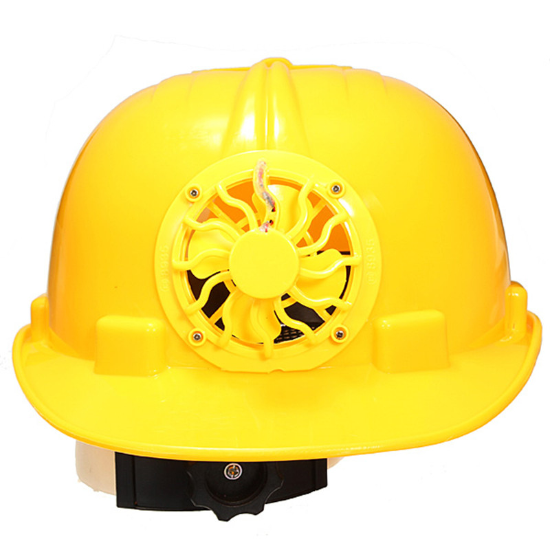 New Adjustable 0.3W PE Solar Powered Safety Security Helmet Hard Ventilate Hat Cap with Cooling Cool Fan Yellow Free Shipping(China (Mainland))