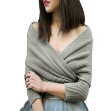 2016 Women Crop Top Batwing Sleeve Knitted Cardigan Female Fashion New Arrival Long Sleeve Off the Shoulder Knitted Sweater(China (Mainland))