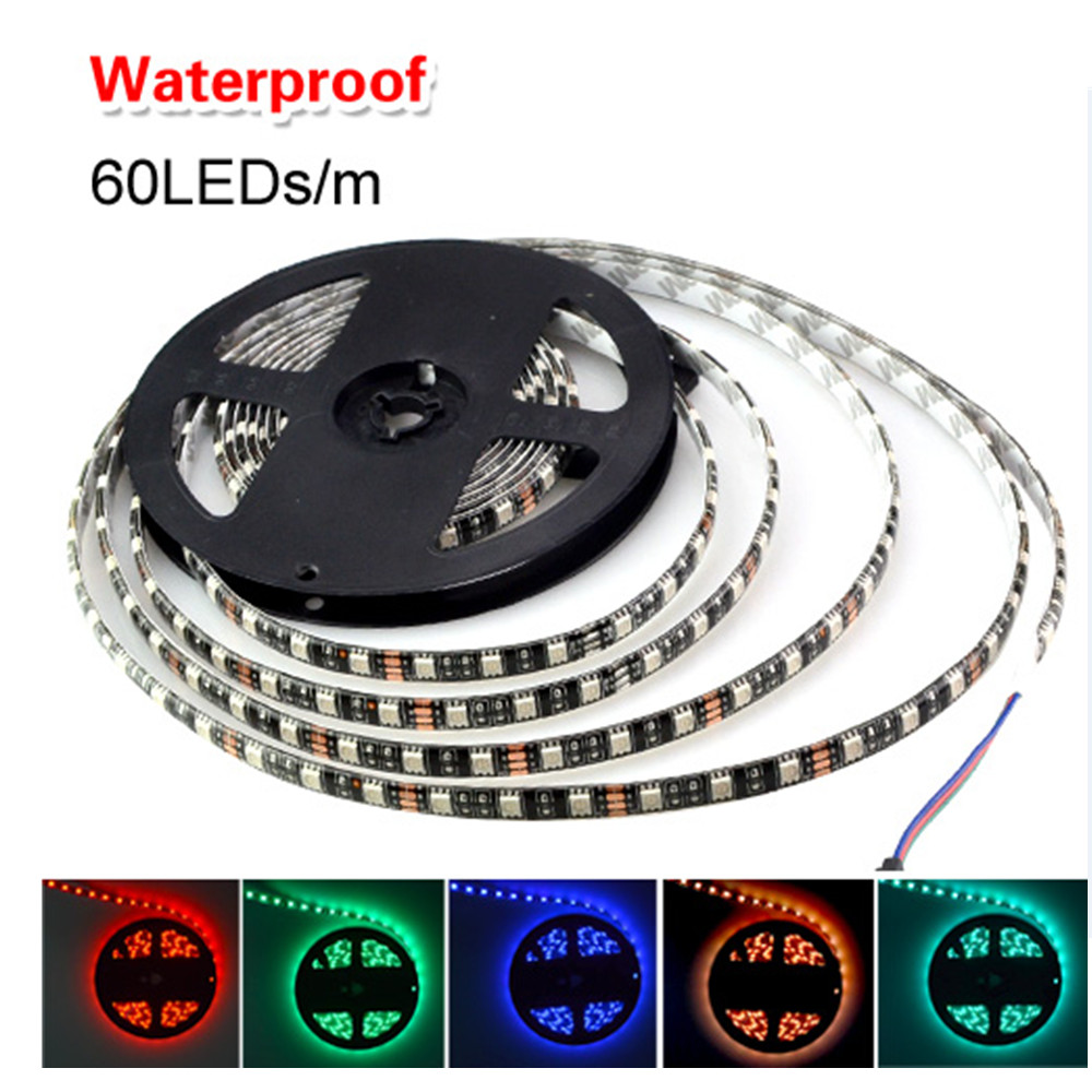 Black PCB Board RGB Led Strip 5050 Waterproof 5M 60Led/M Led Strip Light DC 12V Fita Led String Light Bar Neon Ampoule Led Lamp(China (Mainland))