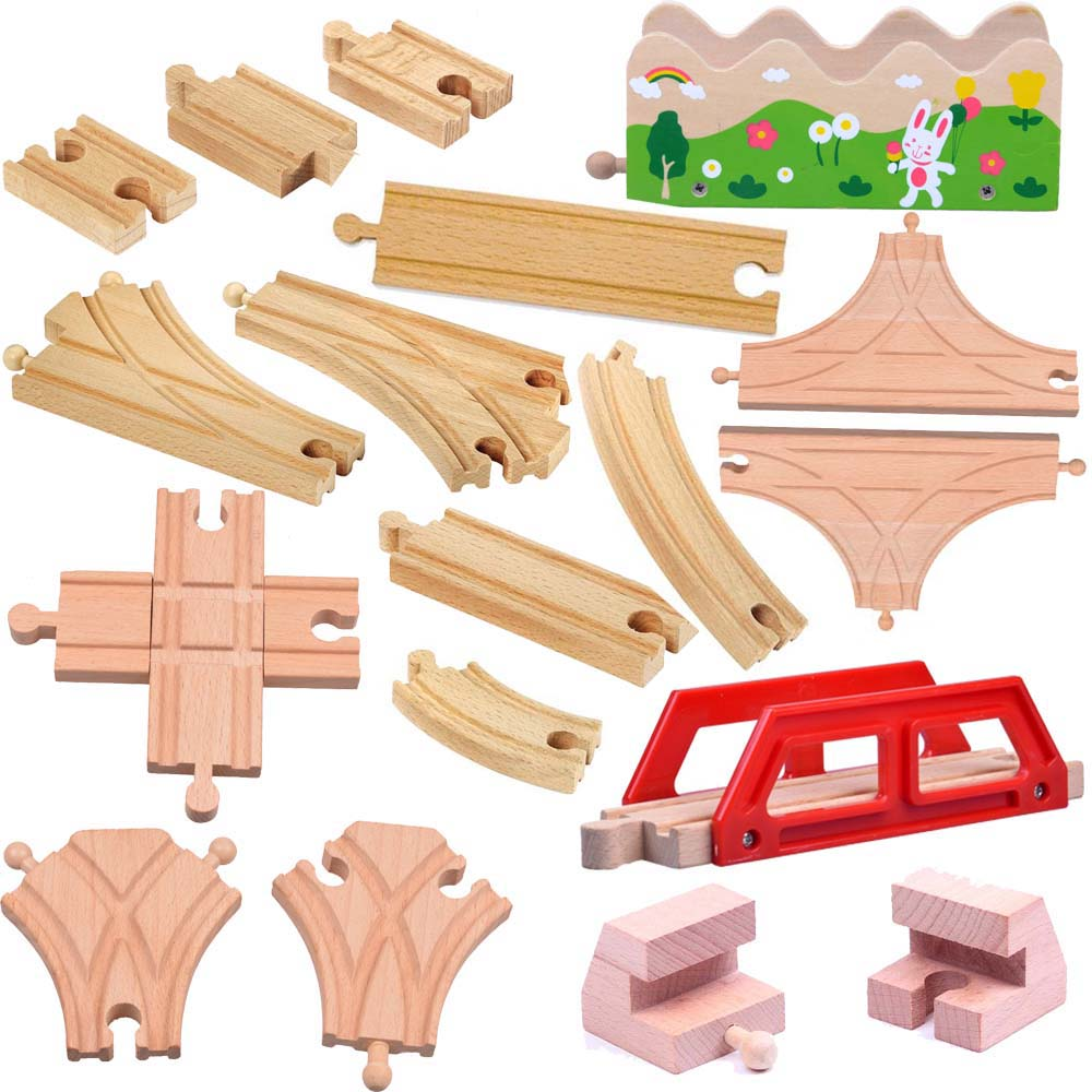 Thomas and Friends-18pcs/lot Kids Wooden Train Toys Train Wood Railwy Slot Beech Wood Track Set fit Thomas and Brio(China (Mainland))