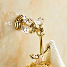 luxury crystal & brass golden hook bathroom hangings gold towel rack clothes hook Bathroom Accessories 4560(China (Mainland))