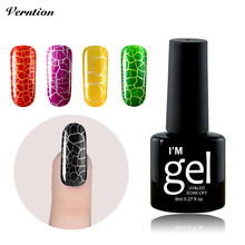 Verntion 8ml Gel Polish DIY nail art UV Fast Dry Magic Crack Nail Polish Soak off Crackle gel lacquer 12 colors in price(China (Mainland))
