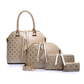 New Free Shipping Double Zipper Four Pieces Tote Bag Party Leather Pu Women Bag Leather Brown