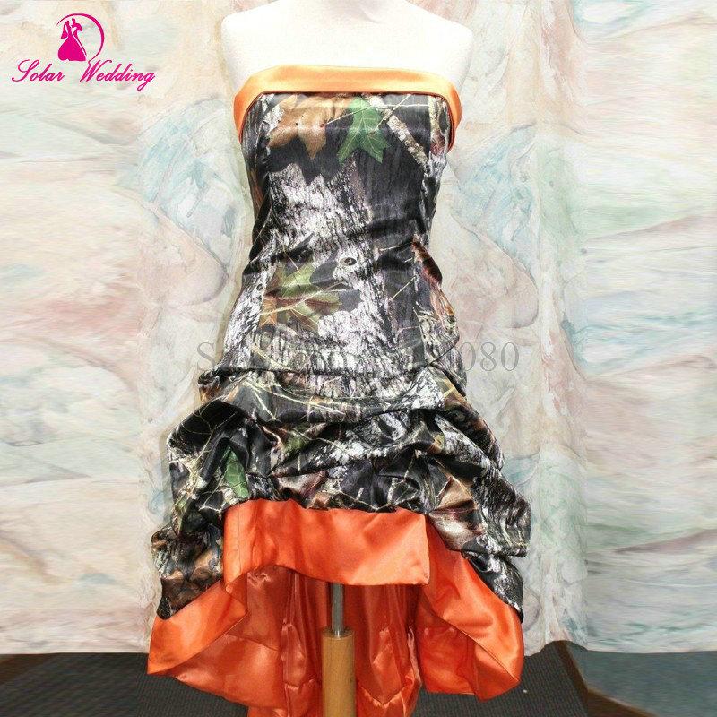 Hot Sale Bandage Hi Low Orange Camo Prom Camouflage 2016 Lace Up Bridesmaids Dresses(China (Mainland))
