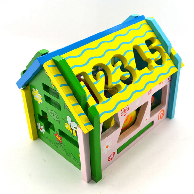 New Smart house removable wooden multifunction color shape cognitive matching children's educational toys YGF1036(China (Mainland))