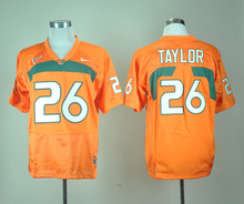 Stitched 2016 New Arrivals Miami Hurricanes Ed Reed 20 Ray Lewis 52 Sean Taylor 26 , 100% Stitched Logo, High Quality(China (Mainland))