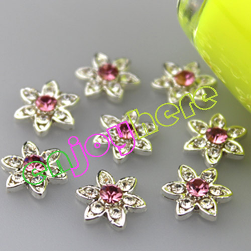 Free Shipping 10pcs/pack Flower Shape Alloy 3D Nail Art Charms Pink Glitter Rhinestones Nail Design Accessories Nails(China (Mainland))