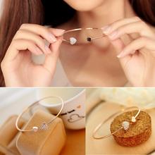 Women Trendy Jewelry Double Peach Heart Love Crystal Opening Bracelets For Women Pulseira Feminina Gift  BL-0074(China (Mainland))