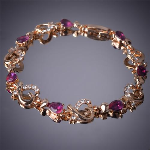 Гаджет  Charming  Women Gift  Party 14k Gold Filled Heart Drop Cut Red Ruby Unique Chain Bracelets Bangles Jewelry B646 None Ювелирные изделия и часы