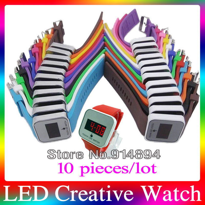 Free Shipping Wholesale 10pcs LED Touch Screen Watch Silicone Creative Design sport Unisex Watches 2014 Hot Selling Digital LED<br><br>Aliexpress