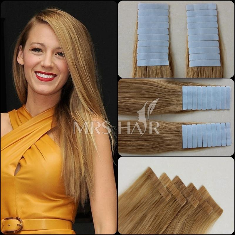"Гаджет  Free shipping DHL 20"" 20pcs lot Hot sale Promotion 60# human hair tape white blonde 100% remy hair on double taped in extension None Волосы и аксессуары"