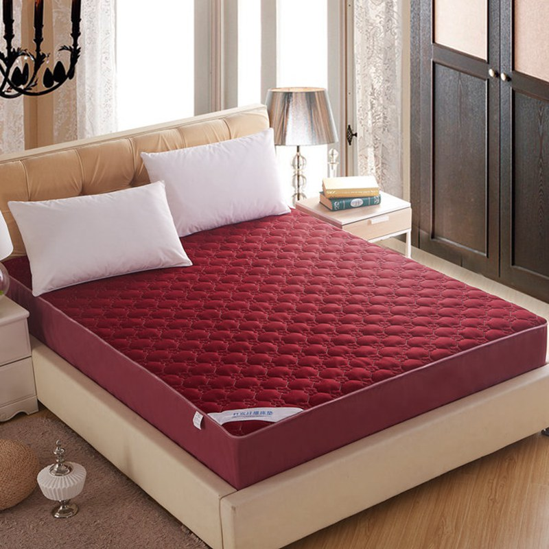 Wine Red Mattress Cover Breathable bamboo fiber Home Quilted Fitted Sheet bed protection pad toppers 150x200cm/180x200cm(China (Mainland))
