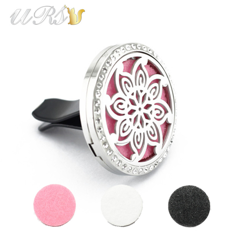 new arrival! 35mm magnet diffuser stainless steel car aroma locket cystals essential oil diffuser car locket free pads