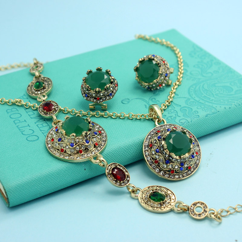 Turkish Necklace Earrings Bracelets Jewelry Sets Colar Feminino Resin Emerald Vintage Indians Jewellery Set Couro Neclace Men(China (Mainland))