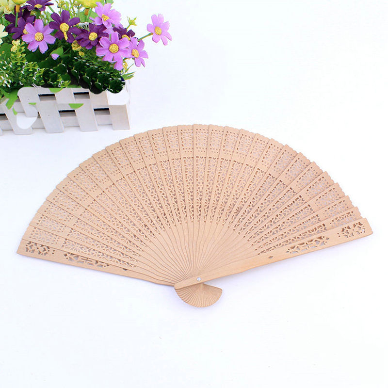12pcs Folding Bamboo Hand Fans Wooden Hollow Carved Wedding Decoration Bridal Baby Shower Party Decor Fragrant Sandalwood Fan(China (Mainland))
