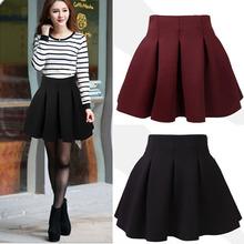 New Best Sexy Womens High Waist Mini Skirts Plain Flared Pleated A-Line Skirt S M L XL Y8664