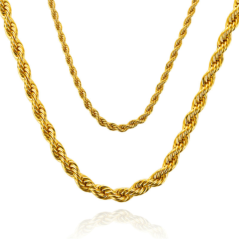 Hip Hop Golden Necklace Twist Rope Chain Fashion Cheap Price For Promotion Big size Small Size(China (Mainland))