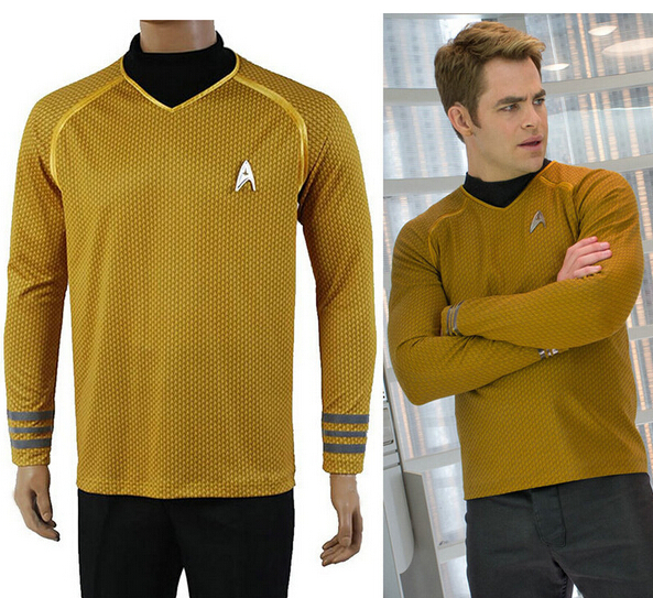 Linglong-5 High Quality Movie Star Trek Captain Kirk Gold Adult Men Cosplay Costumes(China (Mainland))