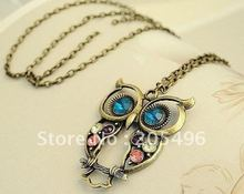 Fashion costume jewelry Vintage Colorful Cute Owl Carved Hollow Chain Pendant Necklace wholesale + Free Shipping(China (Mainland))