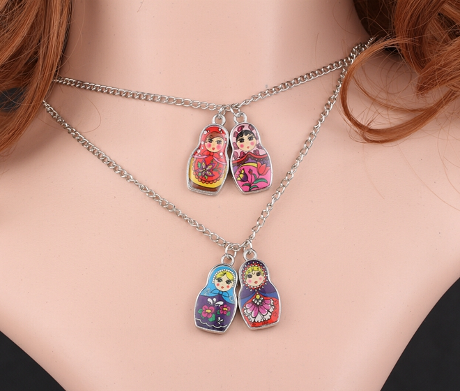 Enamel Russian Doll Necklace Vintage Silver Charms Choker Collar Statement Necklace Pendant DIY Jewelry Women Accessories A72(China (Mainland))