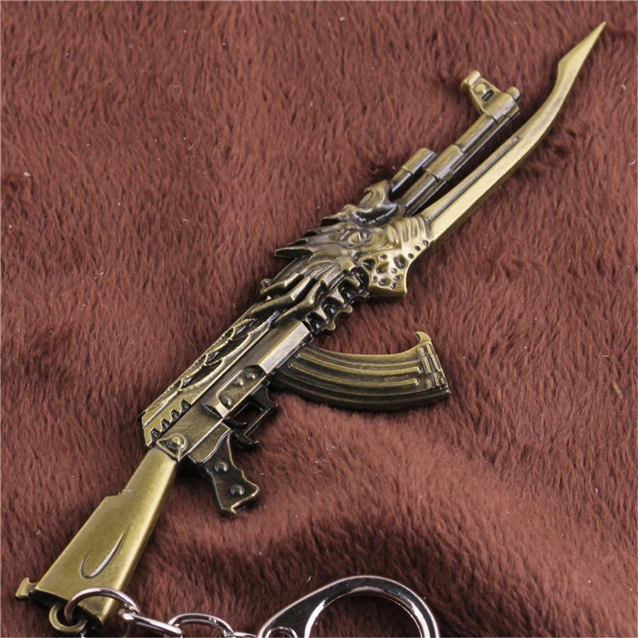 Free Shipping New Fashion CF Cross Fire Gold AK47 Gun Weapon Model Metal Pendant Key Ring Keychain For Men Jewelry(China (Mainland))