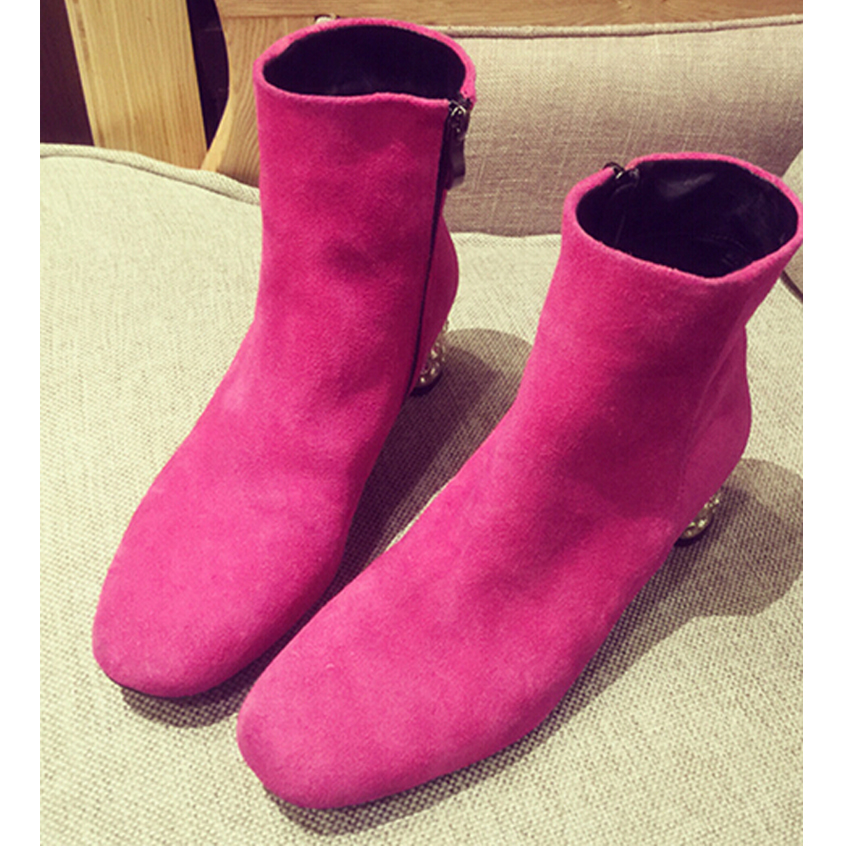2015 High quality ladies winter The heel set auger round thick with sweet leather boots<br><br>Aliexpress