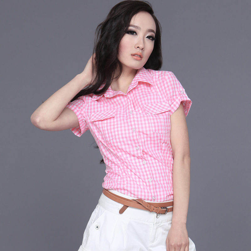 Red And Black Plaid Shirts Womens Summer Short Sleeve