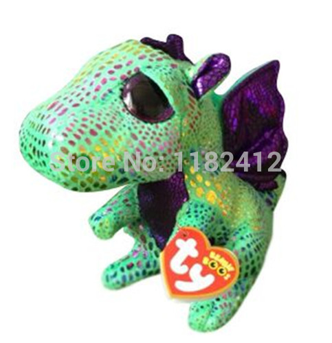 New Rare TY Plush Animals Beanie Babies Green Dragon Toy 6''/15cm Ty Big Eyes Stuffed Animal Dinosaurs Kids Toys for Children(China (Mainland))
