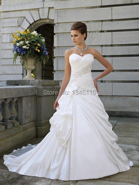 2016 Hot Sale Elegant Sweetheart Wedding Dress A-line Bridal Gown 2 4 6 8 10 12 14 16 16w 18w 20w 22w 24w 26w 28w Custom made(China (Mainland))