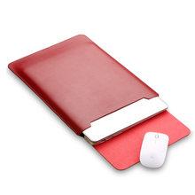 Almofada do mouse bolsa notebook caso para xiaomi macbook ar 11.6 12 13 capa retina pro 13.3 15 15.6 moda luva do portátil saco de couro(China)