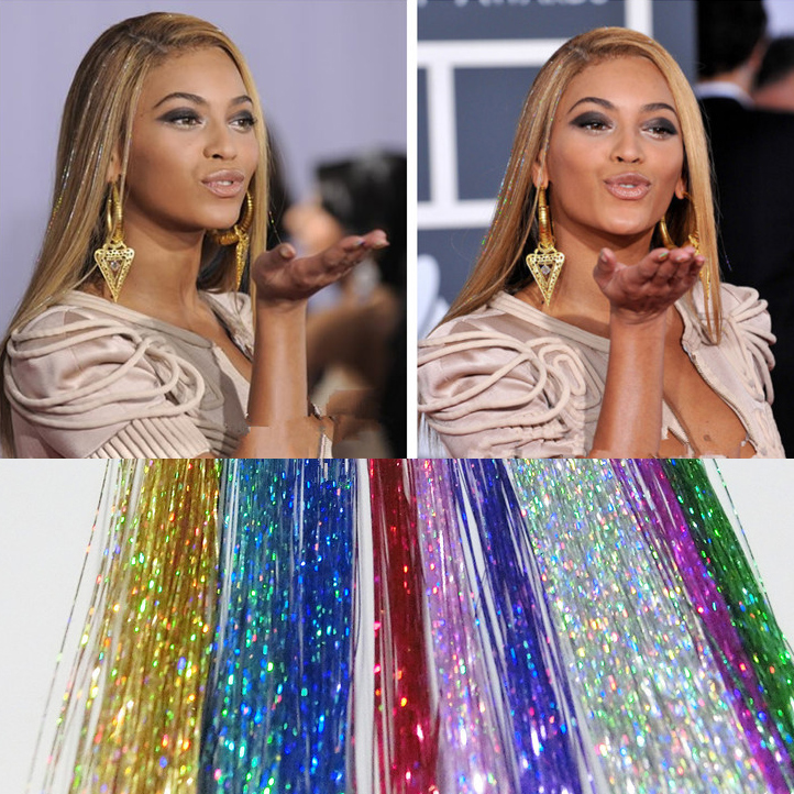 4pcs/lot Synthetic Hair Tinsel Laser Sparkling Hair Fiber Bright Colors Silk Hairpiece Straight Bright Multi Color Women Beauty(China (Mainland))