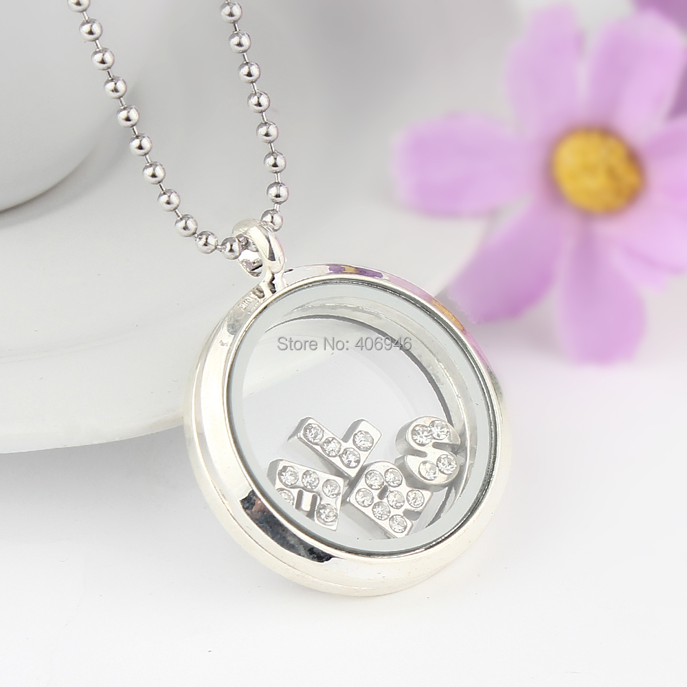 5Pcs 30mm New 2015 Wholesale Round Glass Living Memory Floating Locket Charm Necklace Letter Pendant Jewelry #813(China (Mainland))