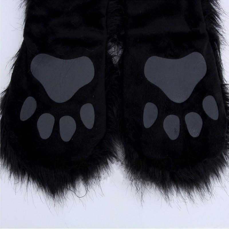 HONGZUO 2016 Winter New Fashion Warm Faux Animal Fur Scarf, Hat & Glove Sets Plush Panda Cap Scarf Shawl Gloves Sets PC187