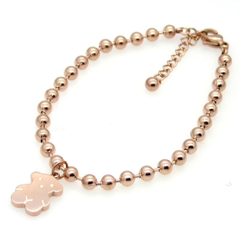 Top Quality Titanium Steel Fashion Jewelry Cuff Bracelets Bangles Rose Gold With Gold Bead Chain Lovely Bear Bracelets For Women(China (Mainland))