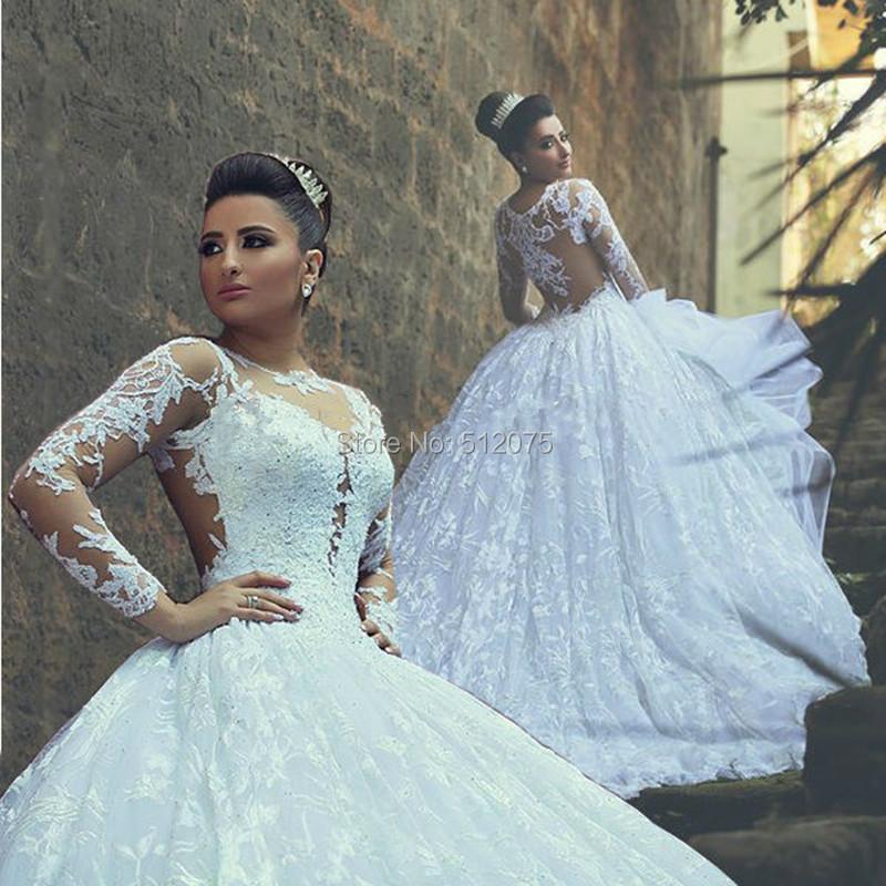 لباس عروس استین سه ربع Купить Свадебное платье Vestido Noiva Sheer 2016 Casamento Mariage z90803 с бесплатной доставкой