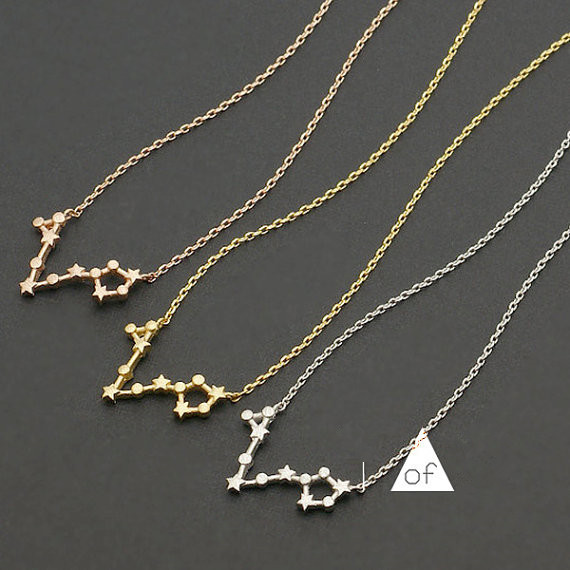 Pisces Constellation Necklaces Zodiac Necklace Pisces Star Sign Necklaces Gold Silver Collier 10 pcs(China (Mainland))