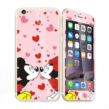 Glow in the dark luminous raised love kiss Tempered Glass film Screen Protector+back cover for iPhone 6 case 6S 6 Plus 6splus