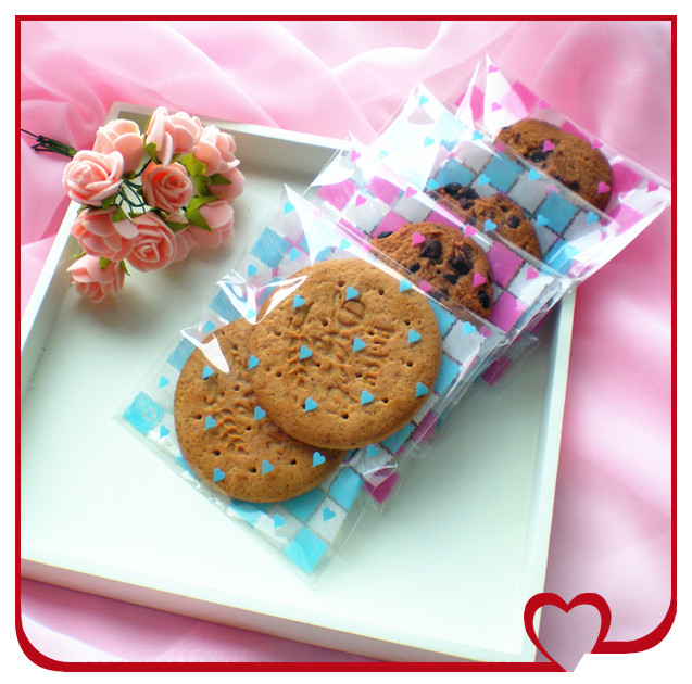 100pcs/lot pink and blue 2colors cookie packaging bags plastic bags with self-adhesive 10x11cm free shipping(China (Mainland))