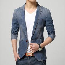 Men slim fit plus size jean blazer jacket 2016 Spring Fashion Pure cotton splicing denim blazer Skinny jacket coat young Men