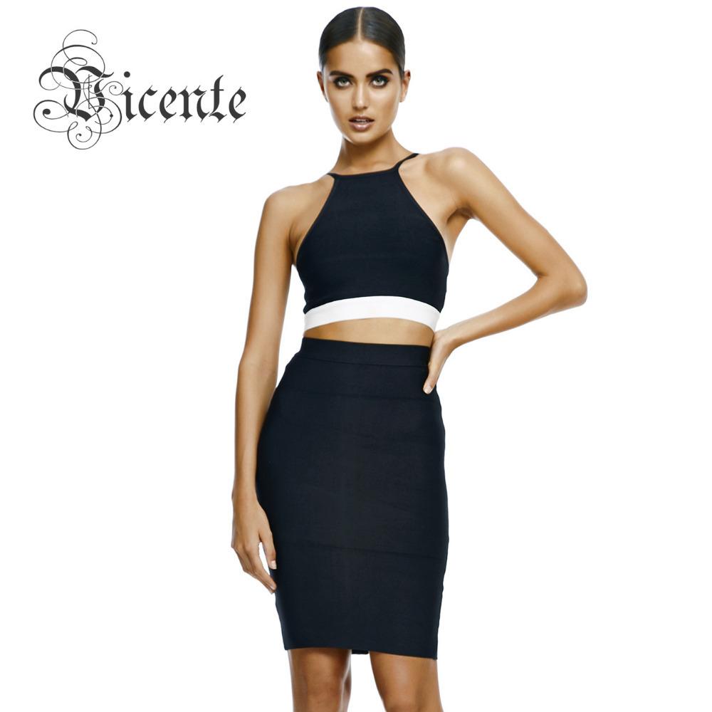 ! 2014 Hot! Rayon Women's Bodycon 2 pieces Set Straps Two Piece Bandage Dress