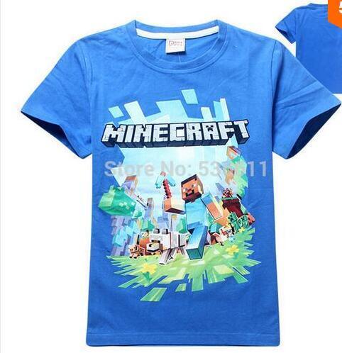 M 4-14Y новый мультфильм minecarft детей футболки мальчики дети с коротким рукавом ...
