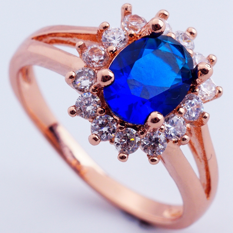 Fashion show 18K rose gold plated filled high quality blue CZ diamond crystal classic wedding rings