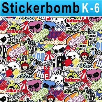 Stickerbomb Vinyl Wrapping Car Sheet Film cute Cartoon 2 Design / Best Non-Pixelated print / Size: 1.5 x 30 Meter / k-6