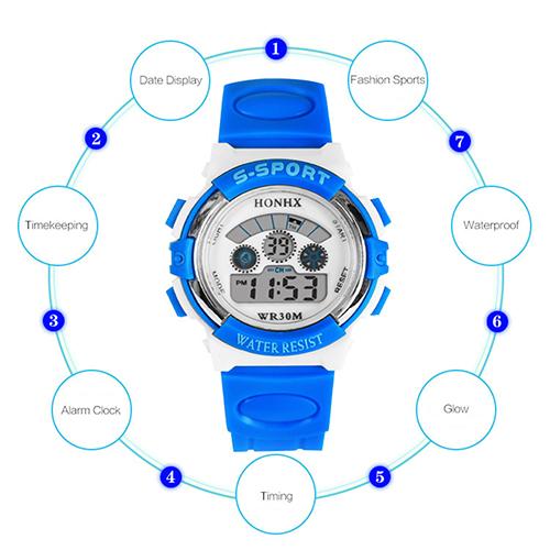 Hot Kids Children Digital Sporty Watch Rubber Multi-functional Glow Auto Date Alarm Clock(China (Mainland))