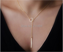 NK547 Hot Wholesale Womens Unique Charming Gold Tone Bar Circle Lariat Pendant Necklace Wedding For Girl Jewelry Accessories